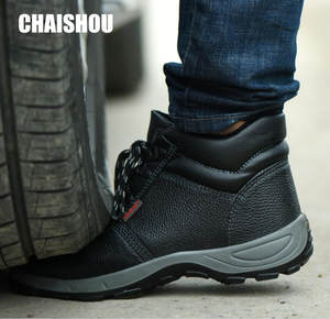 Work-Boots Chaishou-Shoes Work-Safety-Shoes Steel Outdoor Genuine-Leather Lace-Up CS-104