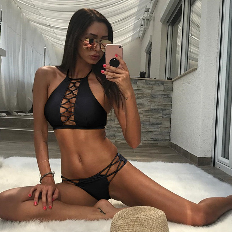 2018 US Women Sexy Push-up Padded Bra Bandage Hollow Out Bikini Set Swimsuit Choker Two-Piece Suits(China)