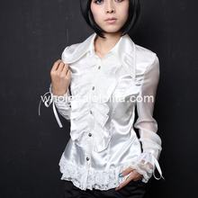 Изготовленная на заказ блузка белая Банкетная Готическая Лолита Блузка кружевная Лолита рубашка Готическая блузка