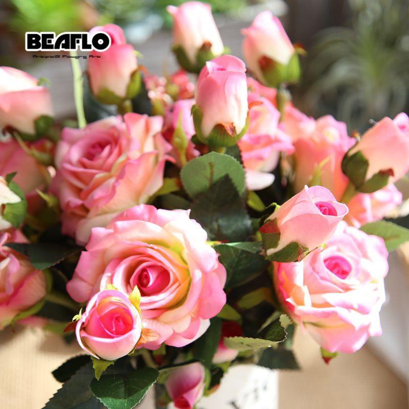 1PC kunstig fløyel rose 3 hoder blomst DIY silkeblomst for fest Hjem - Fest utstyr