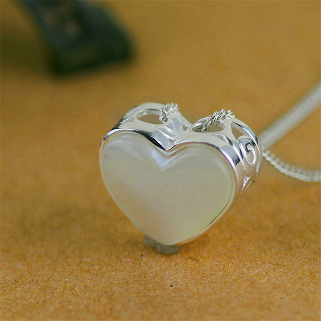 Delicate Handmade Love Heart Necklace Pendant For Lovers Real 925 Sterling Silver Charm For Jewelry Making Mother Of Pearl Plata