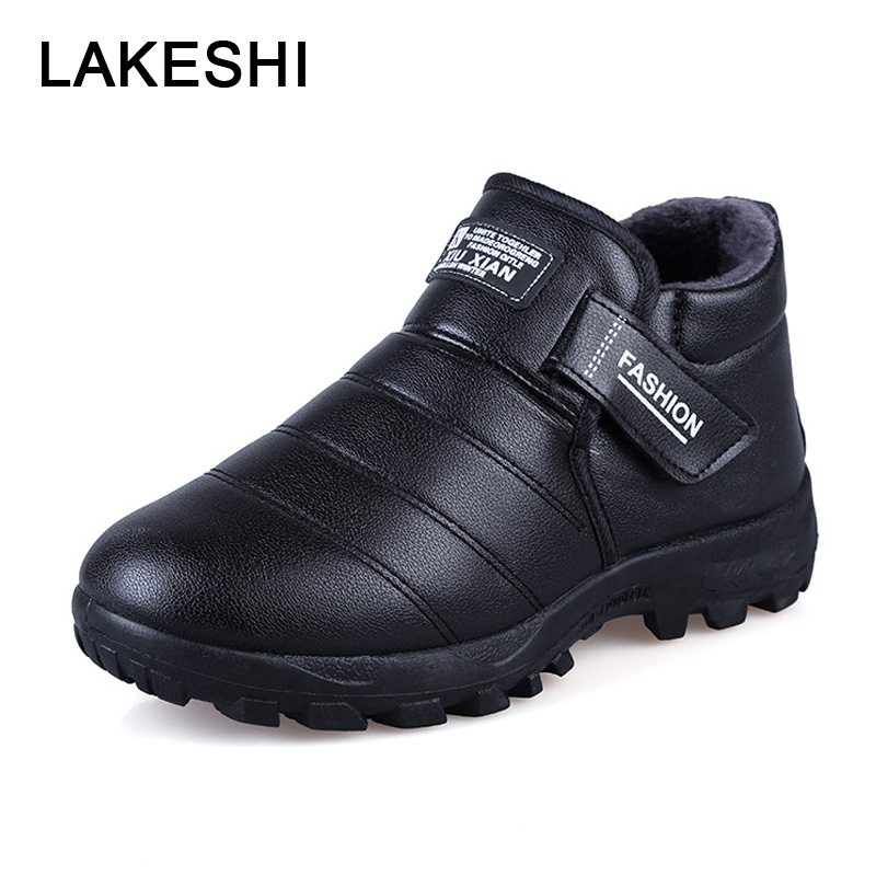 LAKESHI Ankle Boots for Men Leather Boots 2018 New Warm Short Plush Men's Shoes Men Snow Boots Solid Outdoor Male Shoes Black