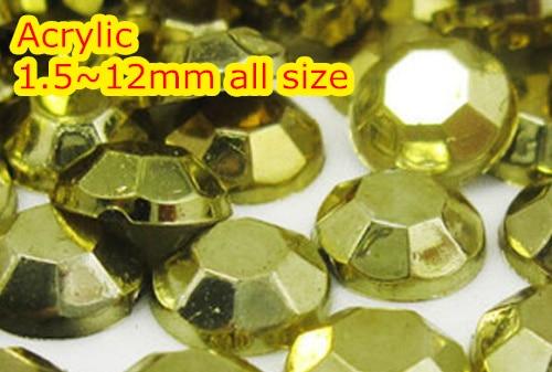 Rhinestone dorado de 1,5 ~ 12 mm de espalda plana, acrílico redondo, - Arte de uñas - foto 1
