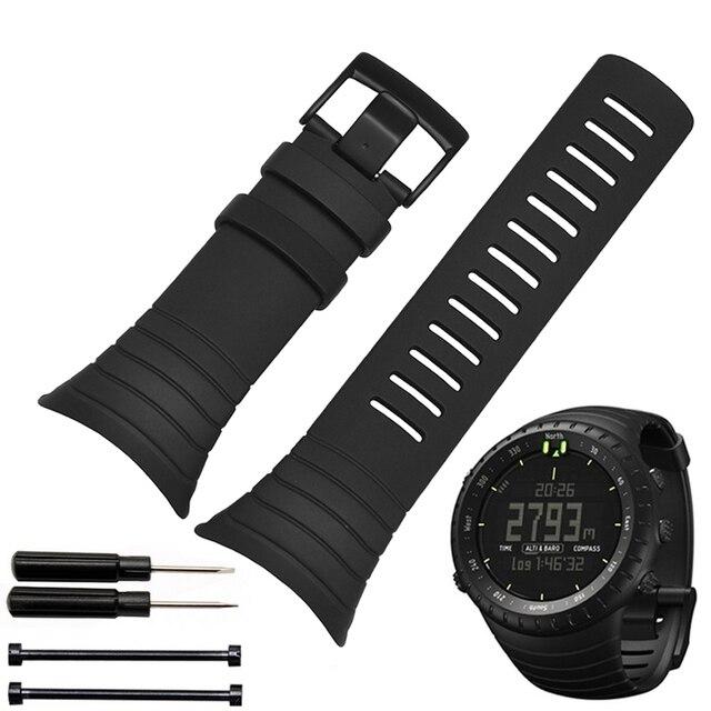 Смарт-Силиконовые часы группа ремешок Каучуковый ремешок браслет браслет 25 мм для SUUNTO CORE наручные часы ремень Бесплатные инструменты,