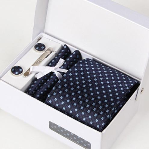 Новый человек синий интервью галстуки мужской свадебная галстук шелковый деловых kravat гент свадебные запонки hanky шеи галстук набор