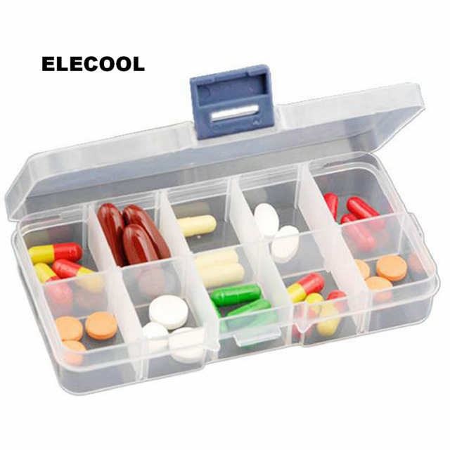 ELECOOL 10 Slots Cells Generic Storage Case Box for Nail Art Tips