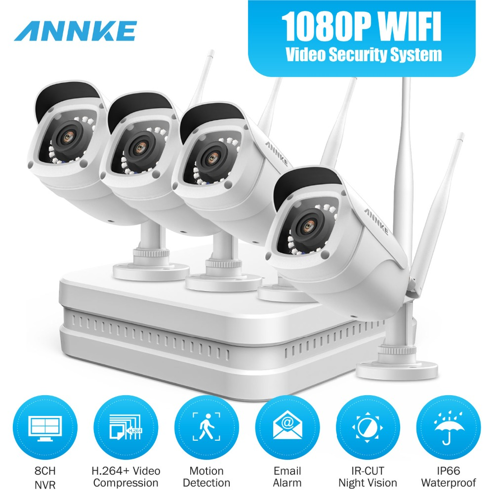 ANNKE 8CH 1080P FHD Wi Fi H.264+ NVR Video Surveillance System With 1080P HD Bullet IP Cameras 100ft Night Vision With Smart IR|Surveillance System| |  - title=