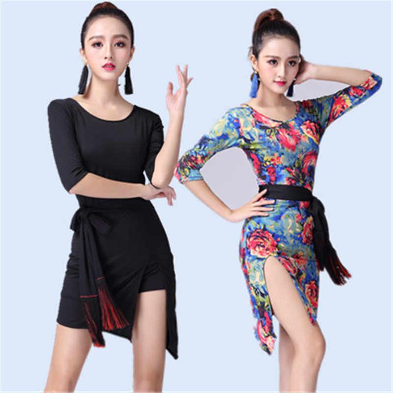 Черный, красный леопард, латино танцевальное платье для женщин танго платье Сальса Румба современные танцевальные костюмы платье для латиноамериканских танцев Одежда для танцев