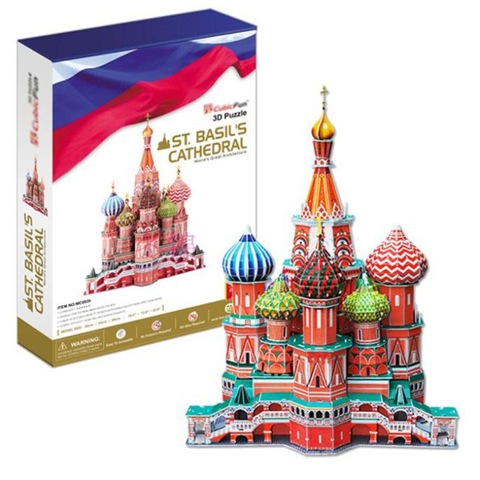 T0428 3D Puzzle Vasily Cathedral-Deluxe edition DIY Building Paper Model kids Creative gift Educational toys hot sale educational toys five styles cartoon dinosaur 3d jigsaw puzzle assembly model paper building game creative children gift 1 pc