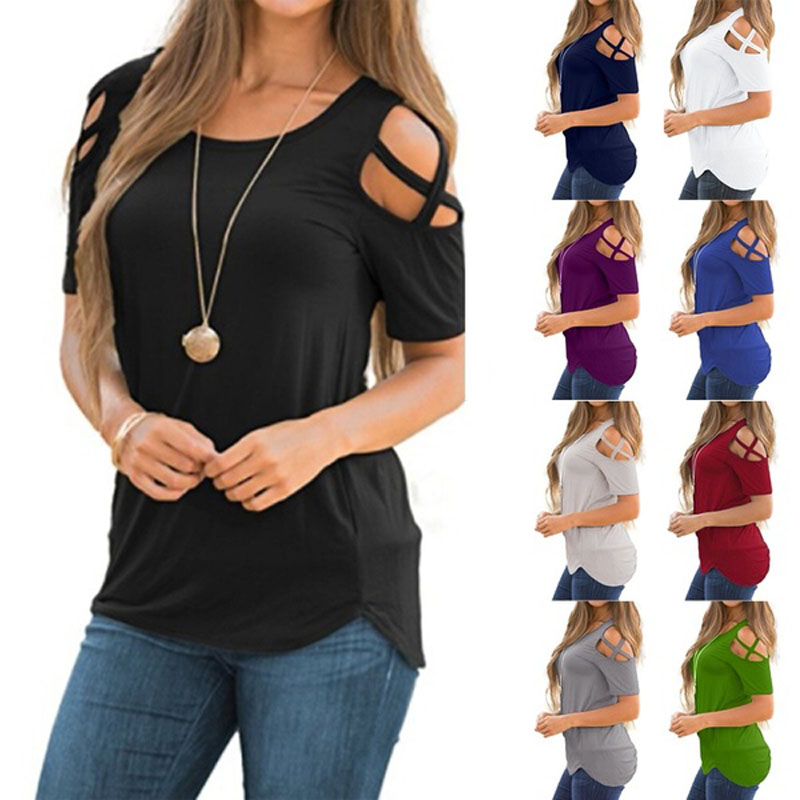 Women Summer Short Sleeve Strappy Cold Shoulder Tops Blouses(China)