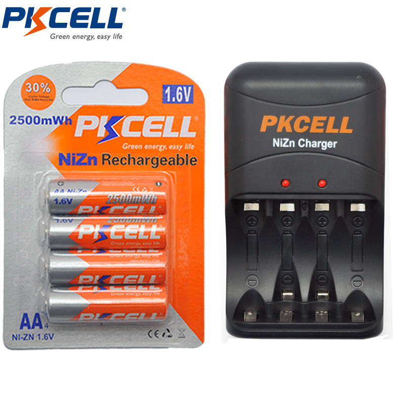 1Pcs PKCELL 8186 Ni-Zn AA/AAA Rechargeable Battery Charger + 4Pcs1.6V Bateria AA Battery 2500mWh Ni-Zn Rechargeable Batteries