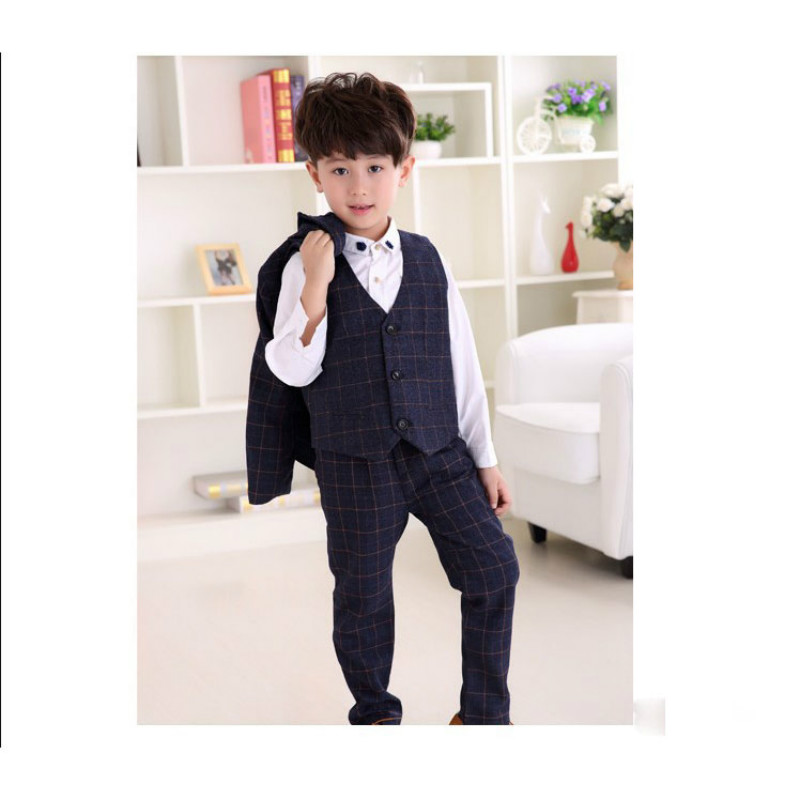 Boys Wedding Suits Sets Kids Party Costume  Plaid Blazer Vest Pants 3Pcs Outfits