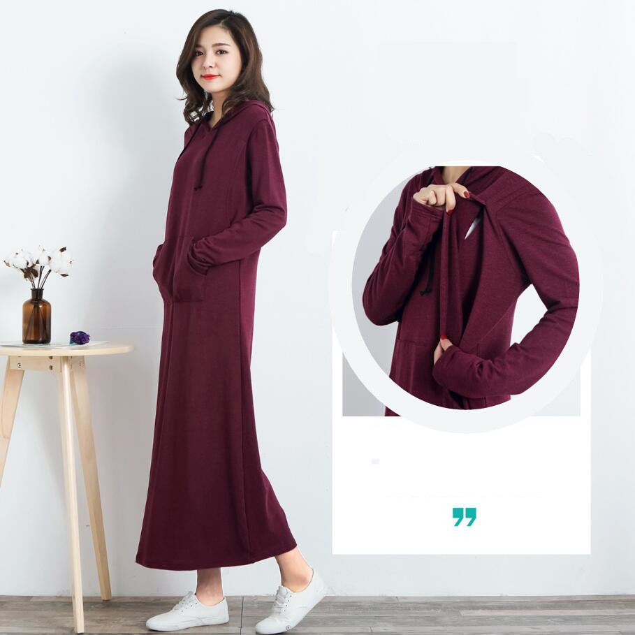 Pregnant women Breastfeeding Slim Long Dress Female Modal long Sleeve Maternity Hoodie Dress sweater Postpartum Nursing Dress все цены