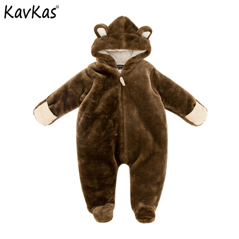 0M-9M Baby Rompers Winter Warm Fleece Clothing Set for Boys 3D Cartoon Infant Girls Clothes 2018 Newborn Overalls Baby Jumpsuit