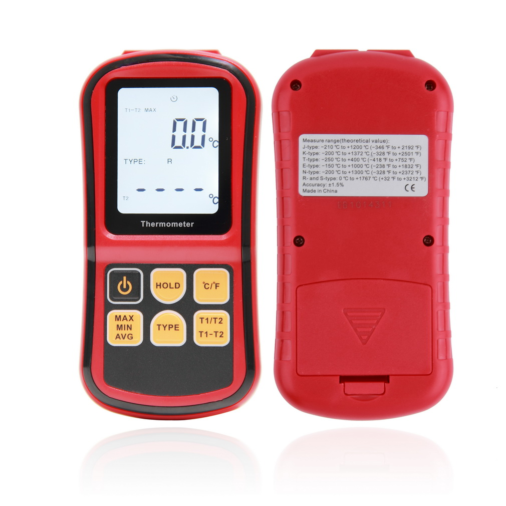 1 Pc Thermocouple Thermometer Measure the thermocouple of J,K,T,E,N and R type GM1312 With LCD Back Light  For Industrial Metal cushman proving
