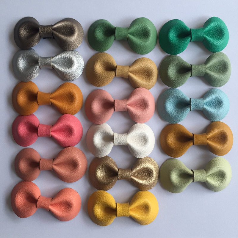 5 Pcs/ Lot Small Handmade Bow Hairgrips Sweet Girls Solid bow leather Whole Wrapped Safety Hair Clips Kids Hairpins Gifts