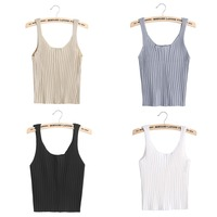 Sexy Fashion Bodycon Sling Off Shoulder Knitted Camisole Square-cut Vest Slim Tank Tops White/Black/Grey/Apricot