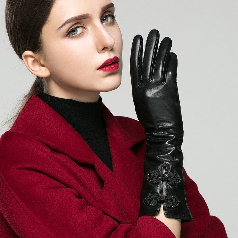 KLSS Брендовые женские перчатки из натуральной кожи в китайском стиле с пряжкой 35 см длинные перчатки из козьей кожи Модные Элегантные класси... - 5