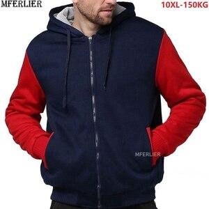 Image 1 - Winter Herfst Mannen Patchwork Sweatshirts Warme Fleece Parka Hooded Hoodies Dikke Grote Maat 8XL 9XL 10XL Oversize Hoody Jas Blauw