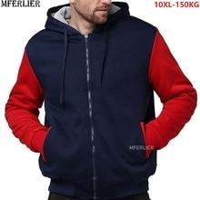 Winter herbst männer patchwork Sweatshirts warme fleece parkas mit kapuze hoodies dicken großen größe 8XL 9XL 10XL oversize hoody mantel blau