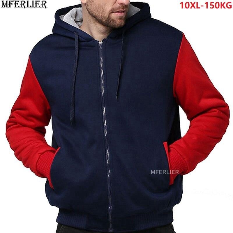 Men Patchwork Sweatshirts 5XL Warm Fleece Parkas Hooded Hoodies Thick Large Size Plus Big 8XL 9XL 10XL Winter Sweatshirt Outwear