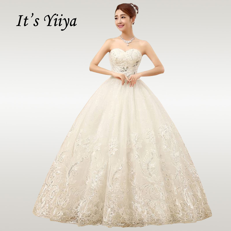 It's YiiYa Wedding Dress 2019 Strapless Crystal Lace Long Wedding Dresses Plus Size Floor Length Vestido De Novia XXN085