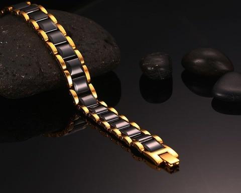 Высококачественный браслет из нержавеющей стали и керамики гематита