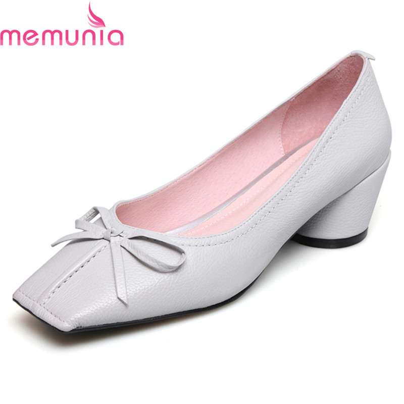 MEMUNIA spring autumn fashion high quality genuine leather women pumps thick high heels square toe concise casual shoes memunia spring autumn popular genuine