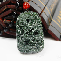 Natural Dark Green HETIAN Jade Pendant Carved Chinese Dragon Lucky Amulet Jade Pendants Necklace Brave Men
