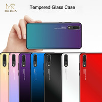 MLR Luxury Colorful Smooth Tempered Glass Cases For Huawei P20 Case P20 Pro Case Gradient Aurora