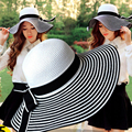 HT004 New 2017 Fashion Packable Sun Paper Straw Hat for Women Summer Beach Cap Striped Bow Ribbon Hats Ladies Summer Floppy Hat