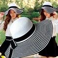 HT004 Nuevo 2017 Moda Plegable Dom Sombrero De Paja De Papel para Las Mujeres Casquillo de la Playa del verano de Rayas Arco de La Cinta Gorras Señoras Verano Sombrero de Ala Ancha