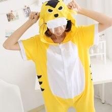 Summer Short Sleeve Tiger Pajamas Onesies Lady Girl Women Cotton Sleepwear Cartoon Animal Hooded Button Pajama Jumpsuit