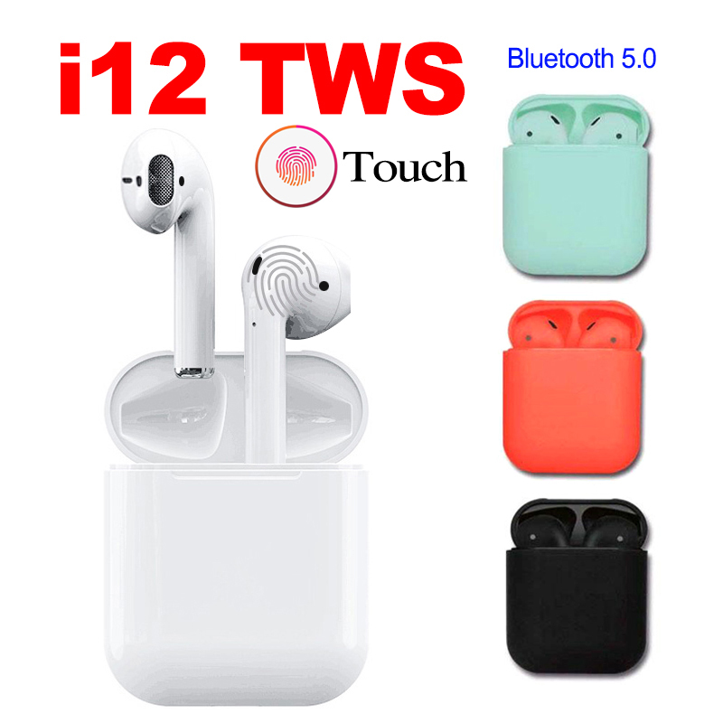 i12 TWS Touch Control Earphone Wireless Bluetooth 5 0 Earphones 3D Surround Sound Charging Box For