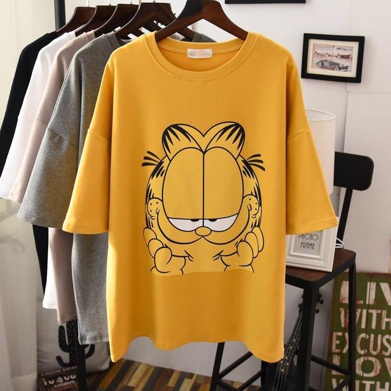 футболка женская Women's Plus Size Cartoon O-neck Loose T-shirt 2019 Female New Spring And Summer Slim Clothing