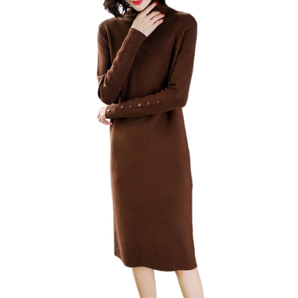 Nouvelle Haute Femmes Automne Black Chandail Genou Robe Élégant apricot Tricot col Lj194 Long brown Basant Tricoté Printemps Le Pull Sur Moyen rxIqIUt
