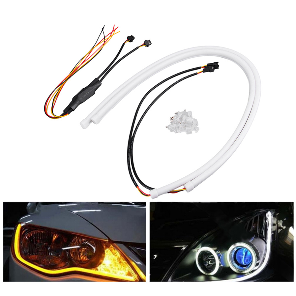2 pcs /pair 12V SMD 335 Flexible Soft Tube Guide Car LED Strip White DRL& Amber Turn Signal Light  60cm, 45cm, 30cm super slim 45 led 90cm dc12v soft smd light strip white led