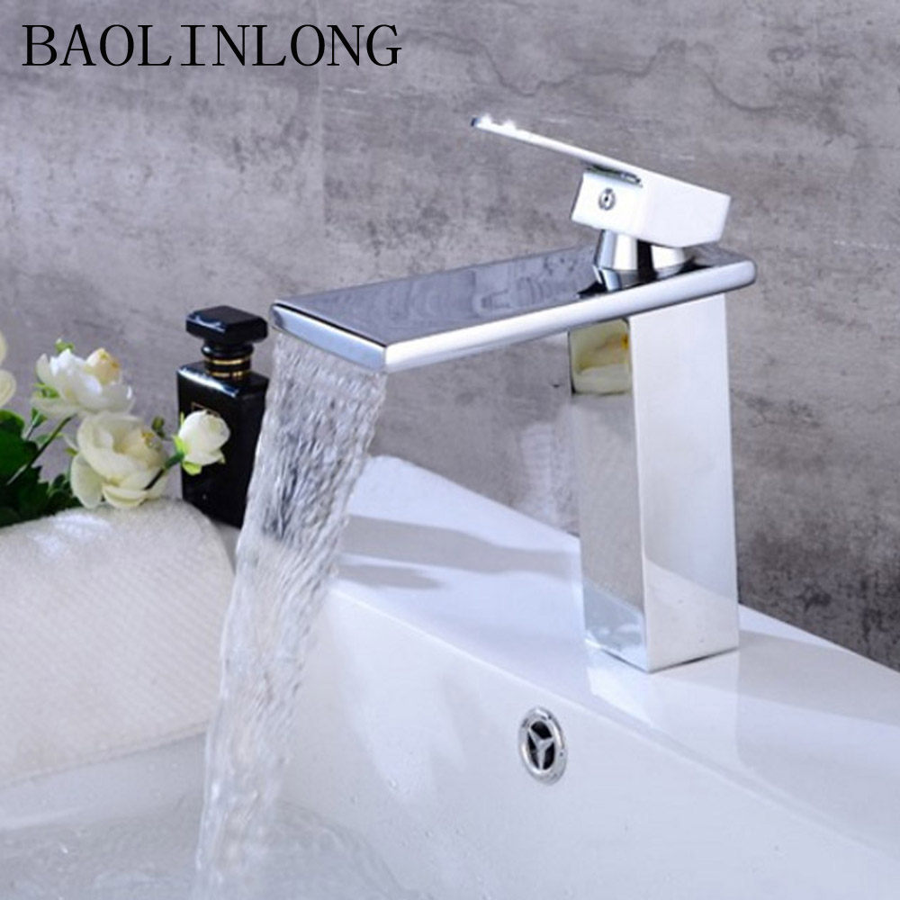 BAOLINLONG Brass Deck Mount Bathroom Faucets Vanity Vessel Sinks Mixer Waterfall Faucet Basin Tap