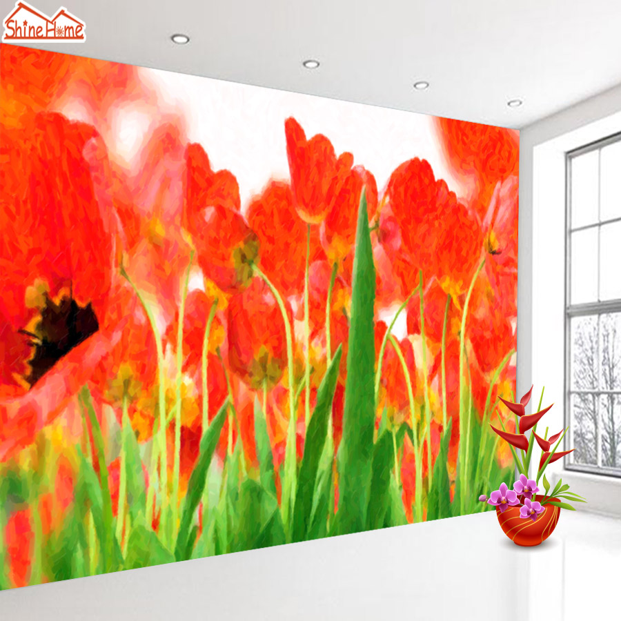 ShineHome-Modern Custom Tulip Flower Nature Photo Wallpaper 3d Stereoscopic Decorative Wall Paper Murals Girls Children Room shinehome modern custom elephant skyline photo wallpaper 3d stereoscopic decorative wall paper murals boys children kids room