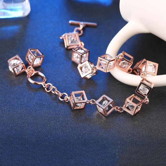Authentic 100 Real 925 Sterling Silver Rose Gold Color with Cube