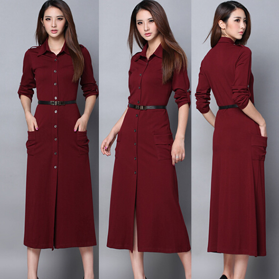 88f8dc3cfb59 2018 New Winter Long Casual Dress for Women Long Sleeve Cotton Plus Size  Full Length Woman Evening office dress Vestidos Red
