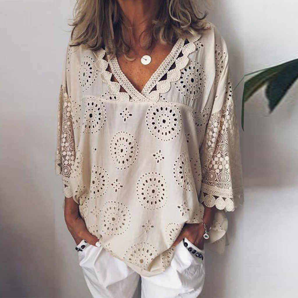 Women blouse Hollow Out  Lace Patchwork tops women plus size 5xl Geometry v-neck summer Shirt vrouw Blouse large sizeTops#G8