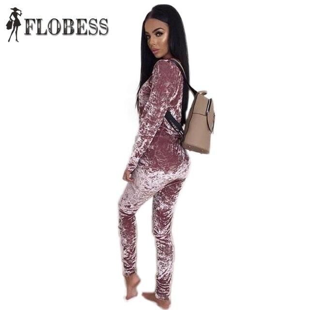New 2016 Fashion 2 Piece Set Autumn Winter Long Sleeve Women Velvet Tracksuit Casual Loose Tops + Elastic Waist Pants