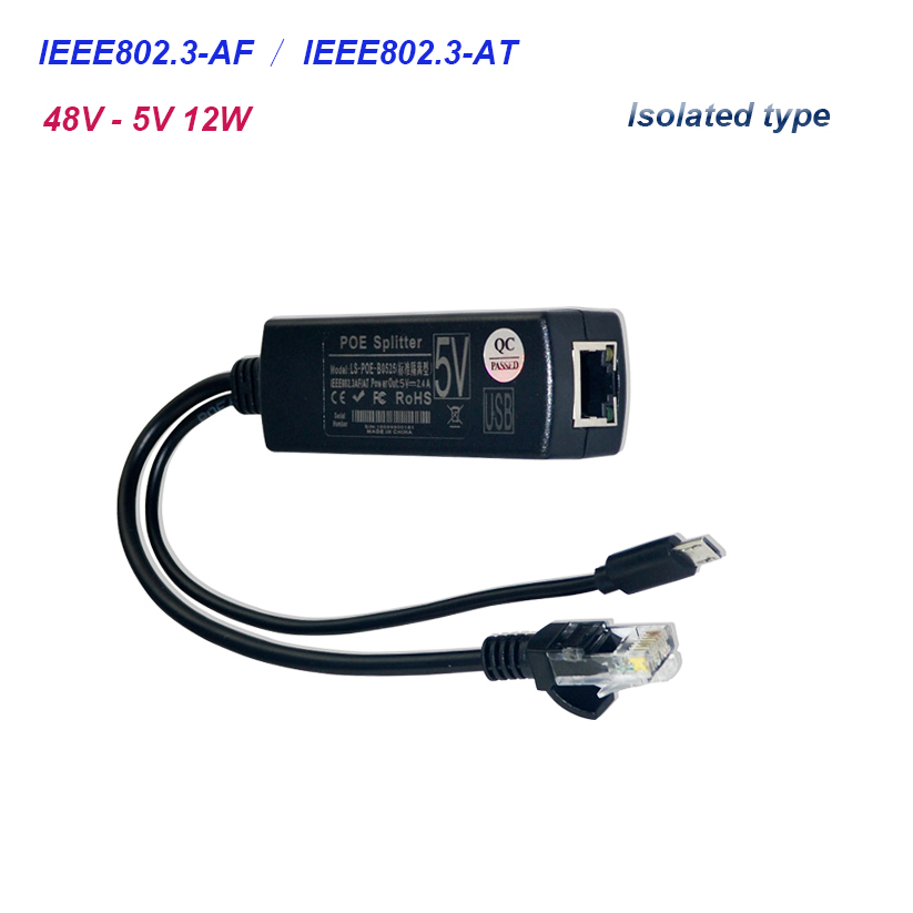 Isolated type Active PoE Splitter Micro USB P 48V to 5V 2.4A ower Over Ethernet 80.3af/8 ...