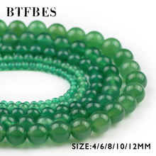 BTFBES Natural Green Carnelian Stone Beads Round Loose Bead 4 6 8 10 12mm Ball For Handmade Jewelry Bracelet Necklace Making DIY