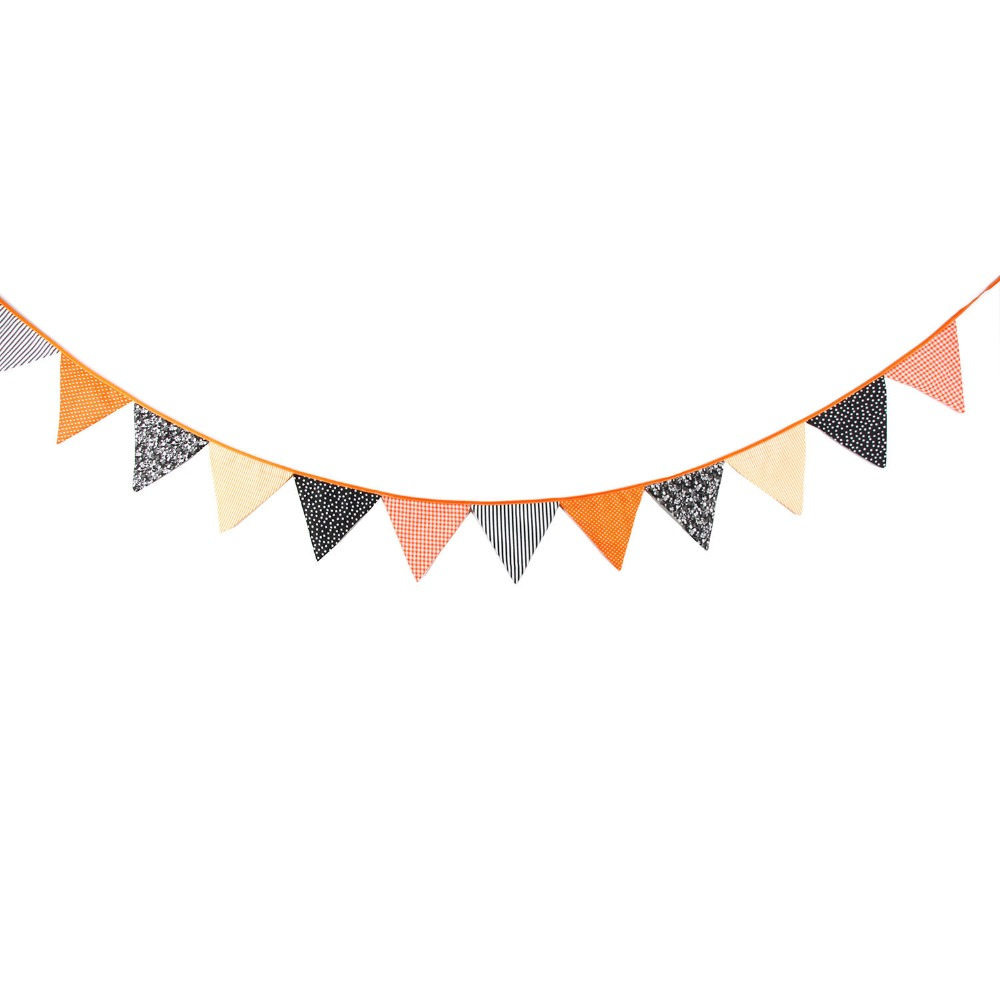 3 2m 12 Flags Orange And Black Banner Pennant Cotton Bunting Banner