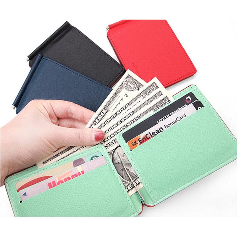 New arrival Fashion slim Women money clip wallet with card slots small men purse ladies cash clamp 4 colors