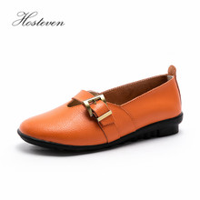 Hosteven Women Shoes Loafers Genuine Leather Flats Moccasins Shoes Spring Autumn Female Casual Ladies Leather Black Footware