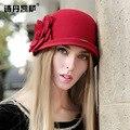 2016 женский зима австралия шерсть старинные цветочные женщин Fedoras фетровые шляпы мода французский котелок сомбреро фетровую шерсть шляпа B-1952