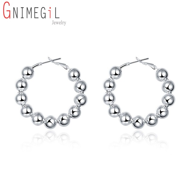 4df5df72d GNIMEGIL Simple Design Fashion Silver Color 8MM Round Beads Hoop Earrings  for Women Indian Buddhism Jewelry